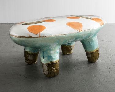 Glazed Ceramic and Gold Leaf Bench