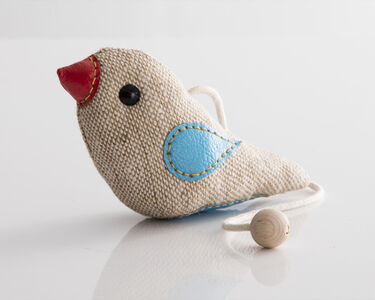 """""""Therapeutic Toy"""" Bird in jute and leather. Originally designed and made by Renate Müller in 1981/82. This example made by Renate Müller, Germany, 2015."""