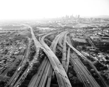 Highways 5, 10, 60 and 101 Looking West, LA River and Downtown Beyond, Los Angeles, CA