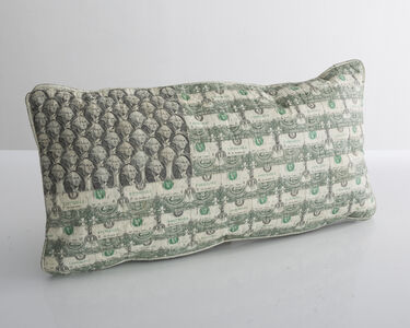 Dollar Bill Flag pillow in cut, pieced, and stitched dollar bills