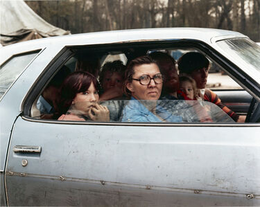 Family in a Car in Tent City, Outside of Houston, Texas, January 1983