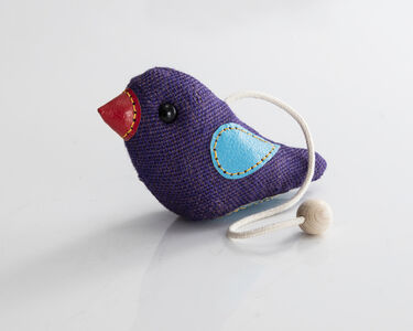 """Therapeutic Toy"" Bird in purple jute with blue and red leather detailing. Designed and made by Renate Müller, Germany, 2016."