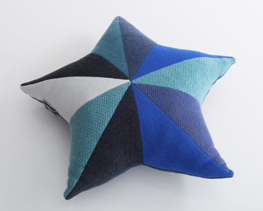 Unique star-shaped patchwork pillow in blue cashmere