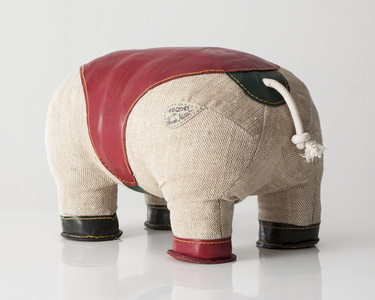 "Double-tail ""Therapeutic Toy"" Hippopotamus in jute with red and green leather detailing."