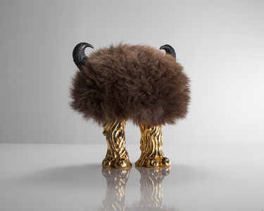 Unique Jeff Farter Mini Beast in Buffalo hide with Coyote feet in gold-plated bronze and carved ebony horns