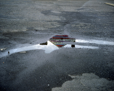 Topless bar reflected in puddle, Doylestown, Pennsylvania