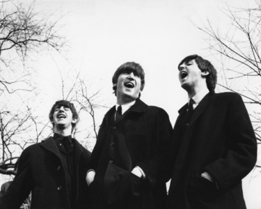 Ringo, John and Paul on the set of A Hard Day's Night, London