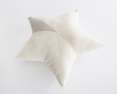 Unique star-shaped patchwork pillow in white cashmere