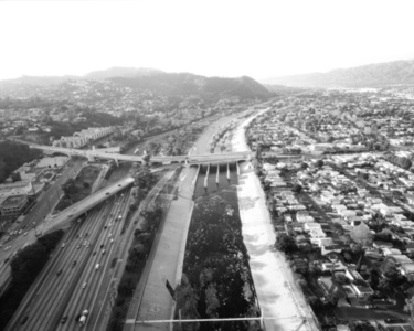 L.A. River Looking Northwest, I-5 and Los Feliz at Left