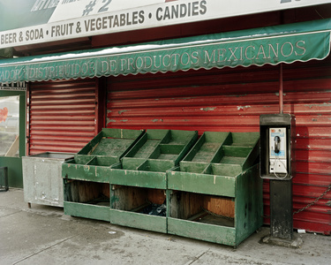 Empty Vegetable Stand On Valentine's Day, Looking East from 3rd Ave & 110th, NYC