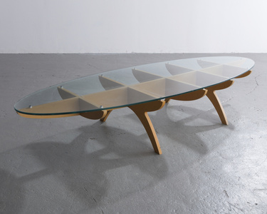 """Niloo's Cutout Table"" in MDF, aluminum and glass. Designed by Ali Tayar, 1994."