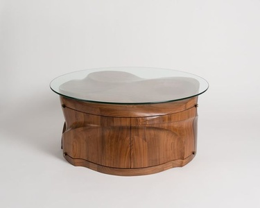 Megalith, Round Coffee Table with Front-Opening Doors
