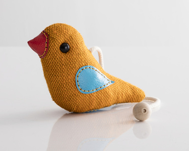 """Therapeutic Toy"" Bird in yellow jute and leather. Originally designed and made by Renate Müller in 1981/82. This example made by Renate Müller, Germany, 2015."