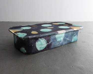 Low Table in Glazed Ceramic with Gold Leaf