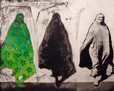 Three Women in Green Pattern