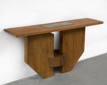 Console in solid Brazilian hardwood with inset glass
