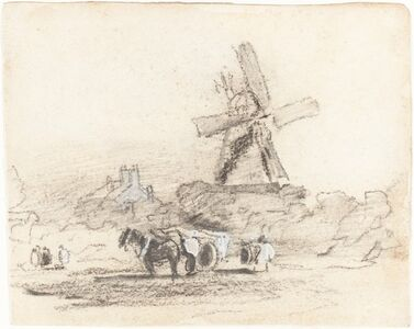 A Cart with Two Horses near a Windmill