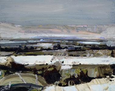 Snowy Landscape with Light Grey Sky