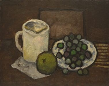 Still life with white jar