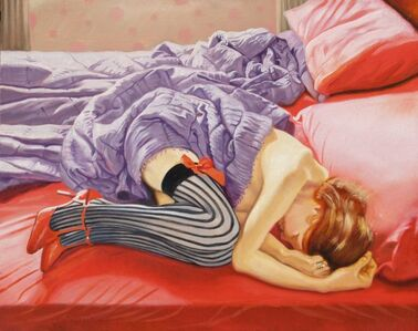 Redhead in a red bed