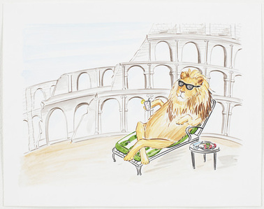 Original Work On Paper - Lion Relaxing at the Colosseum