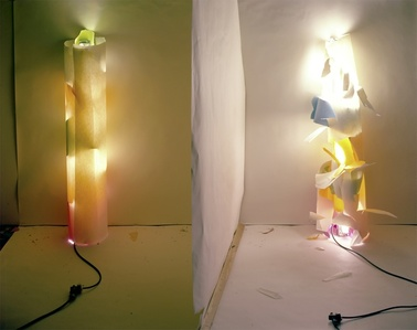 (No. 131) Light In and Out of White Tube with Multi Colors Inside