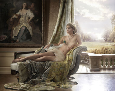 Reclining nude on bench