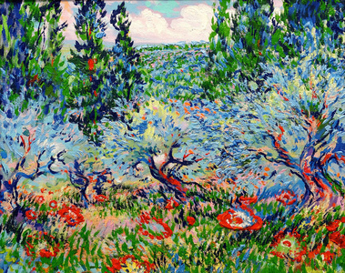 Blue Olives and Red Poppies