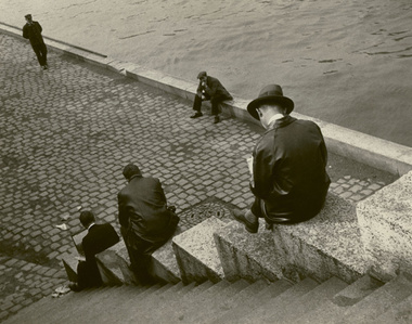 Three Men Sitting on Steps at the Seine, Paris