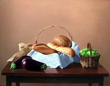 Eggplant, Bread and Artichokes