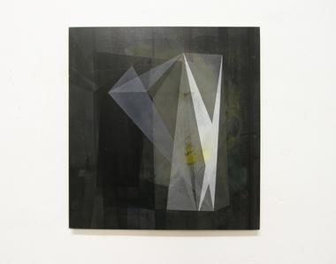 o.T. (370.395.14) acrylic on hdf on press board, 39,5 x 37 cm