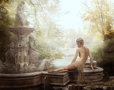 Reclining nude at fountain