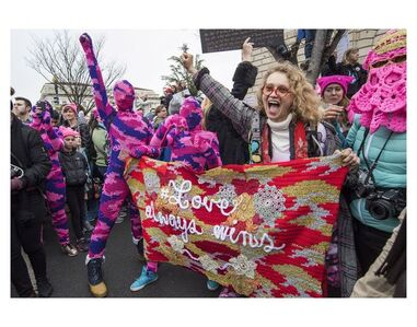 """Love Always Wins"", Installation Artist Olek at the Women's March on Washington D.C."