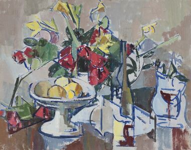 Compote, Wine Bottle and Bouquet