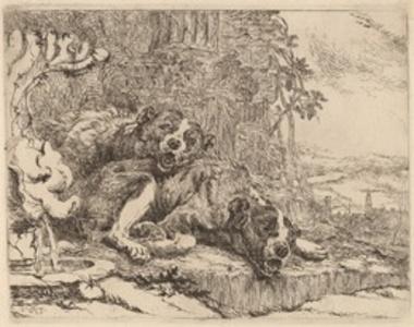 Two Mastiffs beside a Fountain