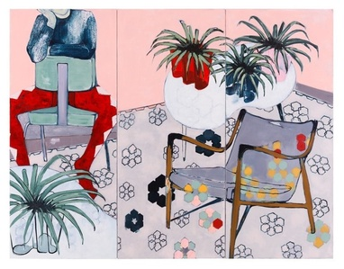 Spider Plants and Harlequin (Triptych)