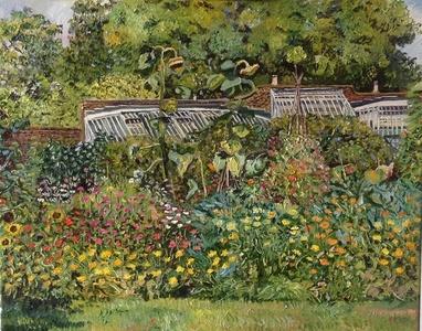 Sunflowers in a walled garden