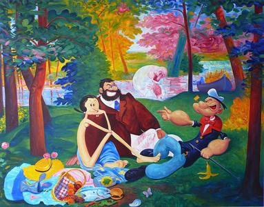 Picnic(d'apres Edouard Manet, Le Dejeuner sur l'Herbe) + A Vague Memory of Picnic, ( d'Apres Edouard Manet , Le dejeuner sur l'herbe)