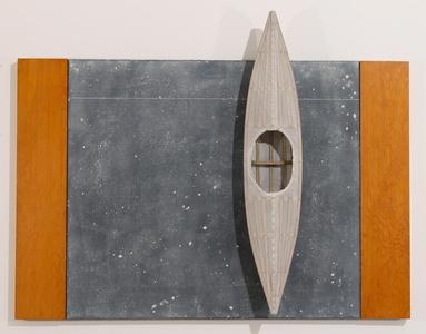 Blackboard, Two Fir Strips, White Boat