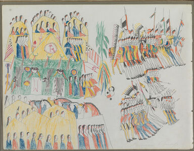 """Ledger Drawing, """"Fort Sill Pawnee Village"""""""