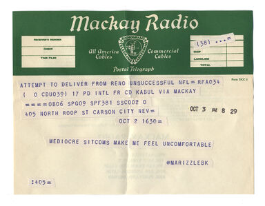 """@marizzlebk from the series """"Random Tweets Reformatted as Telegrams"""""""