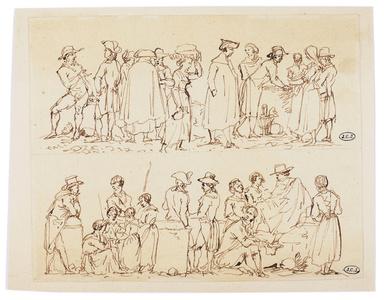 Scène de marché. Etudes de personnages sur un marché romain