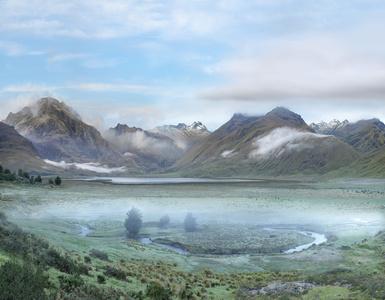Laguna en la región del Sangay, al sur de la línea ecuatorial