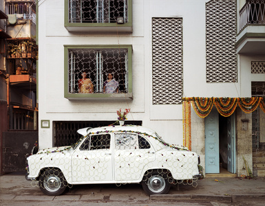 Ambassador Car Decorated for a Wedding by a Net Strung with Fresh Flowers, South Kolkata