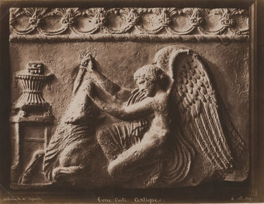 Antique Terracotta Relief of an Angel Slaying a Bull