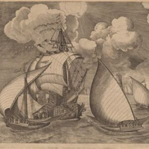 A Fleet of Galleys Escorted by a Caravel