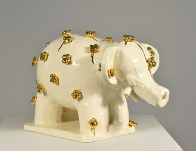 Elephant with Golden Flowers #1