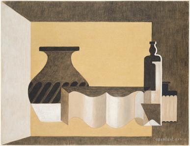 Nature morte puriste - Vase, Bouteille et livre ouvert