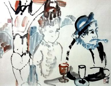 Gauguin Having Absinthe in Degas Pub on Easter