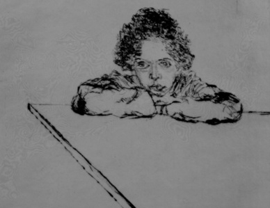 Anne leaning on a drawing table